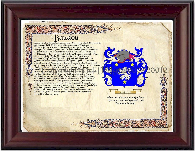 "B002O84VB0 Baudou Coat of Arms/ Family History 11"" x 13 "" Wood Framed on Fine Paper 81HINHOPG2L"