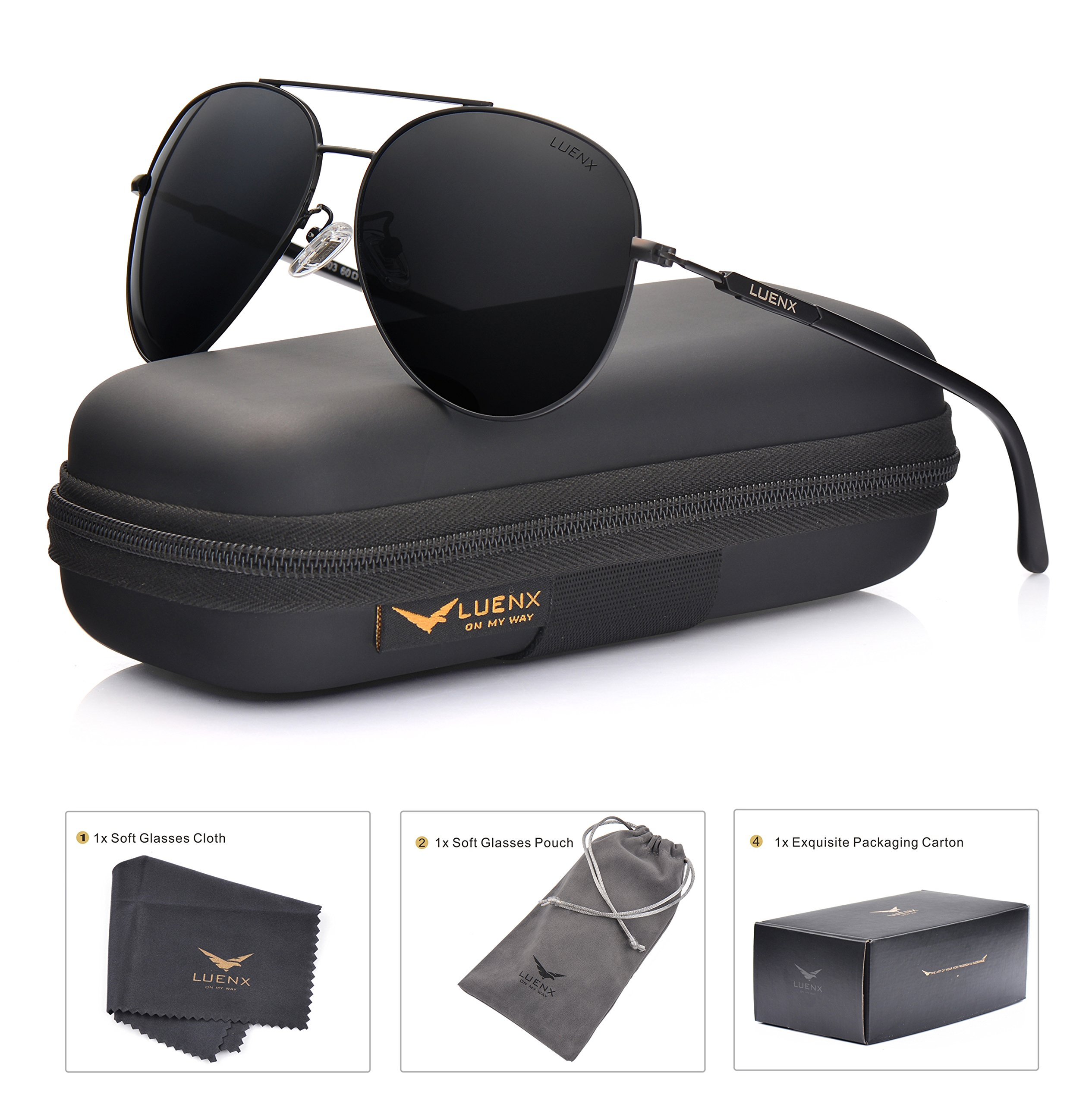 LUENX Aviator Sunglasses Mens Women Polarized Black Lens Black Metal Frame Dark 60mm with Case - UV400 by LUENX