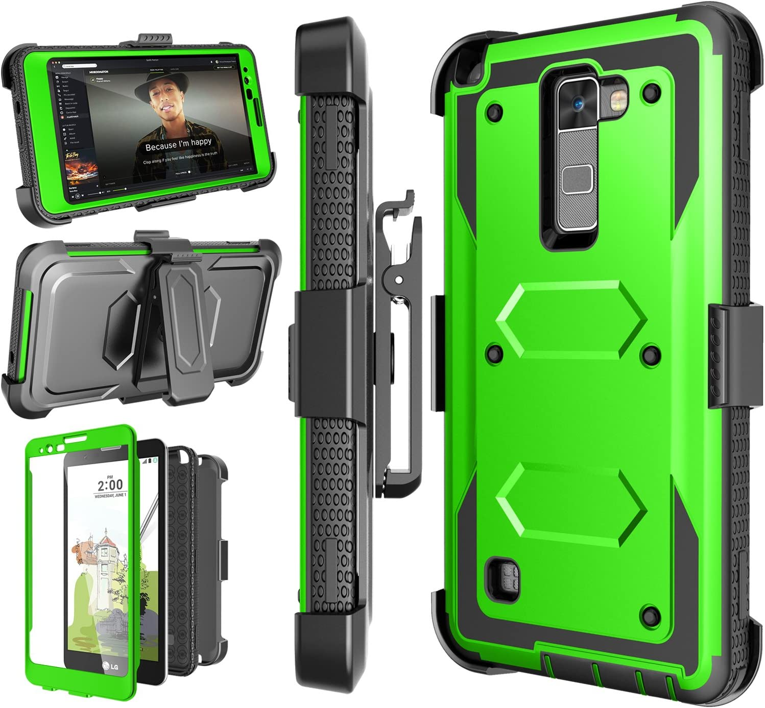 Njjex for LG Stylo 2/ 2V Case, for LG Stylo 2 Plus Case, [Nbeck] Heavy Duty Built-in Screen Protector Rugged Holster Locking Belt Clip Kickstand Cover Shell for LG Stylus 2/Stylus 2 Plus [Green]