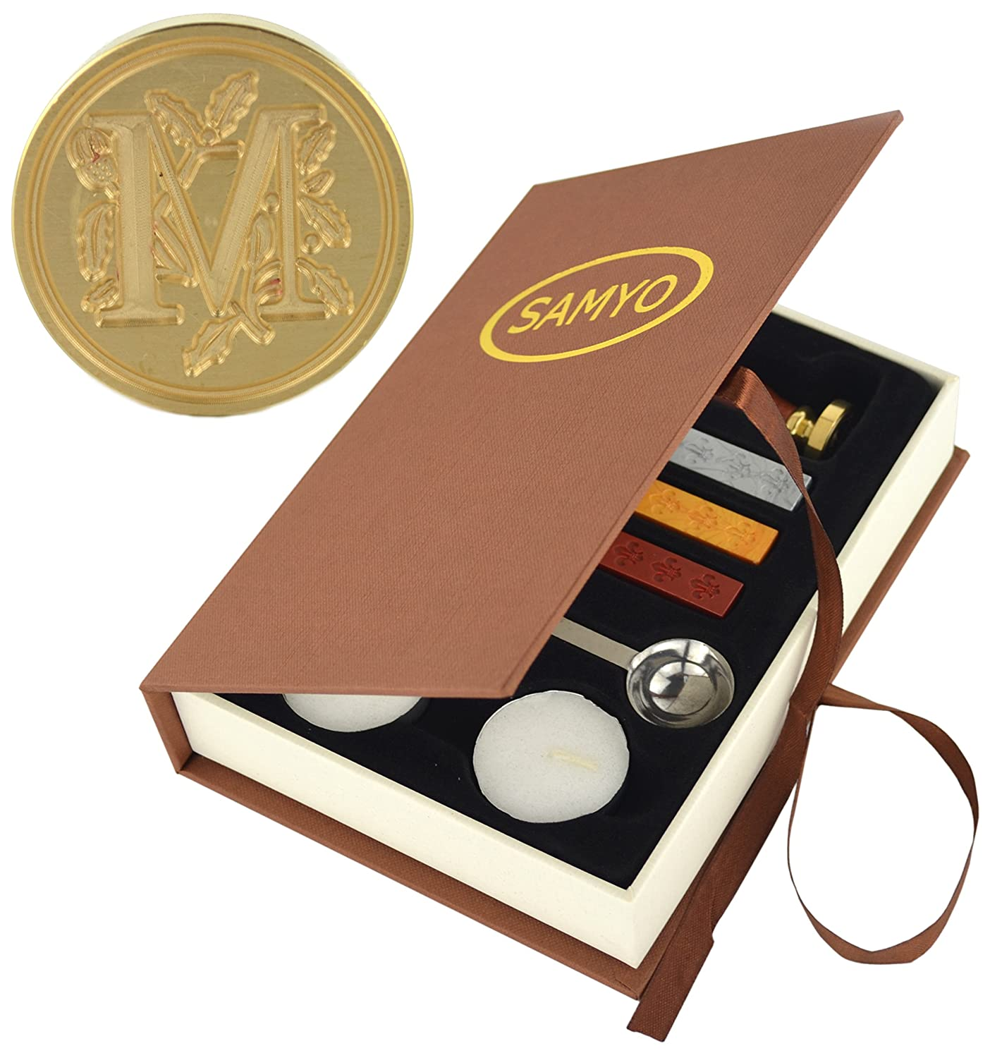 Samyo Stamp Seal Sealing Wax Vintage Classic Old-Fashioned Antique Alphabet Initial Letter Set Brass Color Creative Romantic Stamp Maker (C)