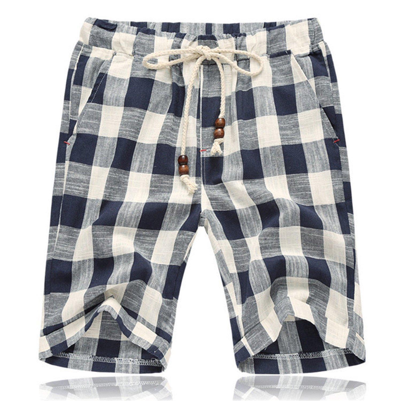 Wanyesta Summer of The New Men's Fashion Beach Shorts Beaded Jewelry Designer Cotton Plaid Shorts Big Size Blue XXL