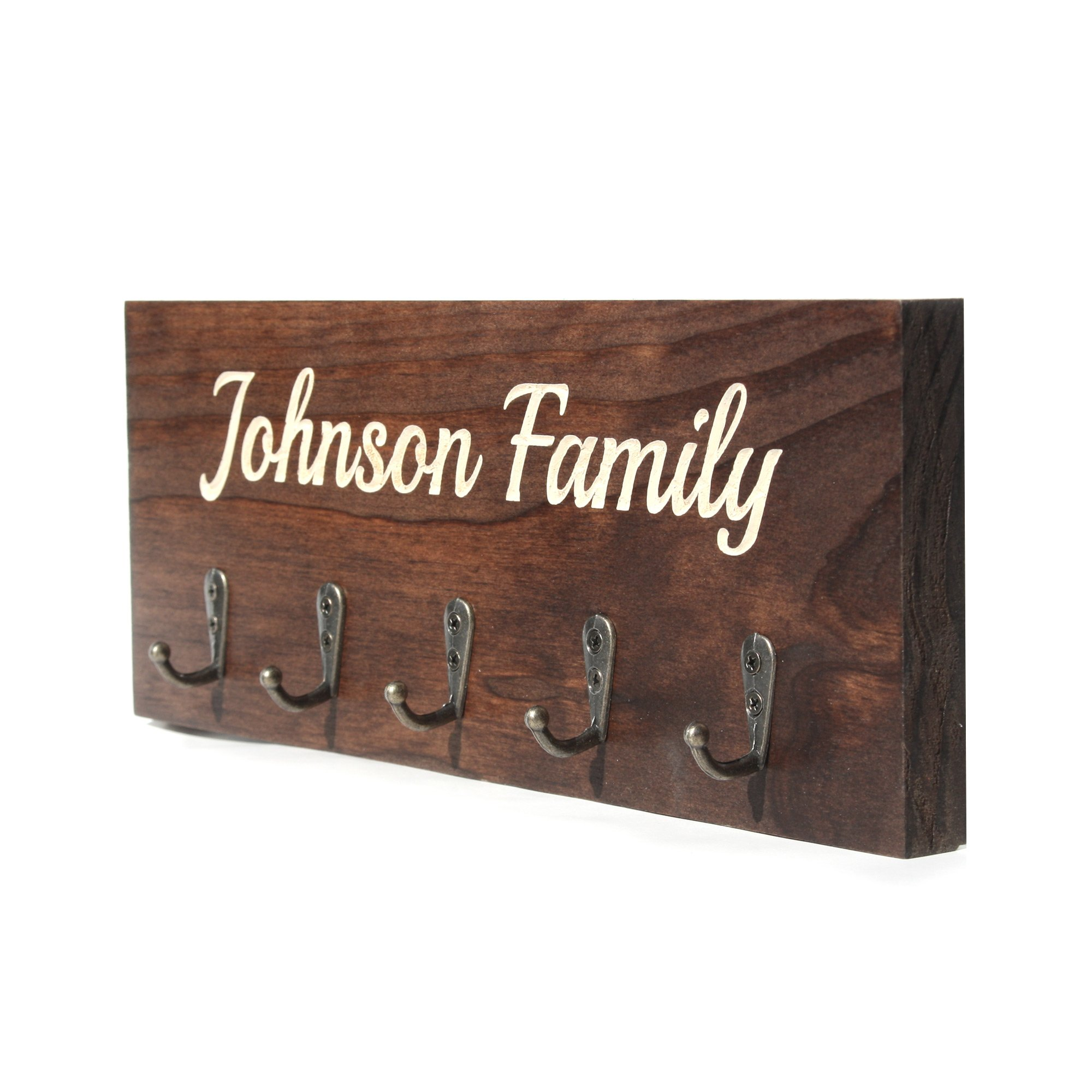 Personalized Wall Mounted Key Rack - 11.75'' x 4.5'' - Solid Wood