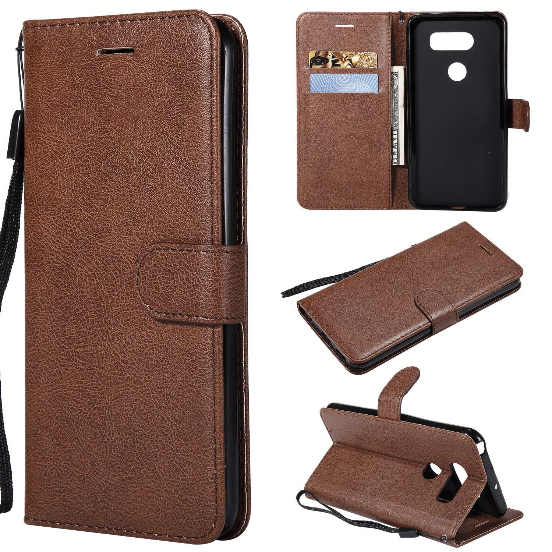 LG V30 Case, Ultra Slim Premium Vintage PU Leather Folio Flip Wallet Case for LG V30, V35, V35 ThinQ, V30S, V30S ThinQ, V30 Plus Phone Case Cover with Credit Card Slots Holder & Kickstand,Black A-slim