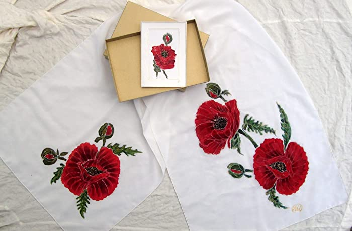 Amazon Sale15 Offpoppies Silk Scarfred Poppy Flowers