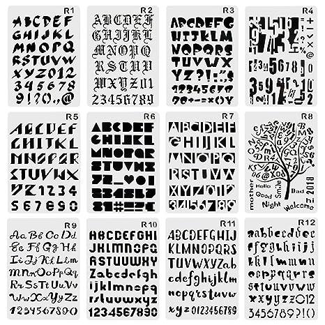 CCMART Plantilla de plástico con número de letras y símbolo ...