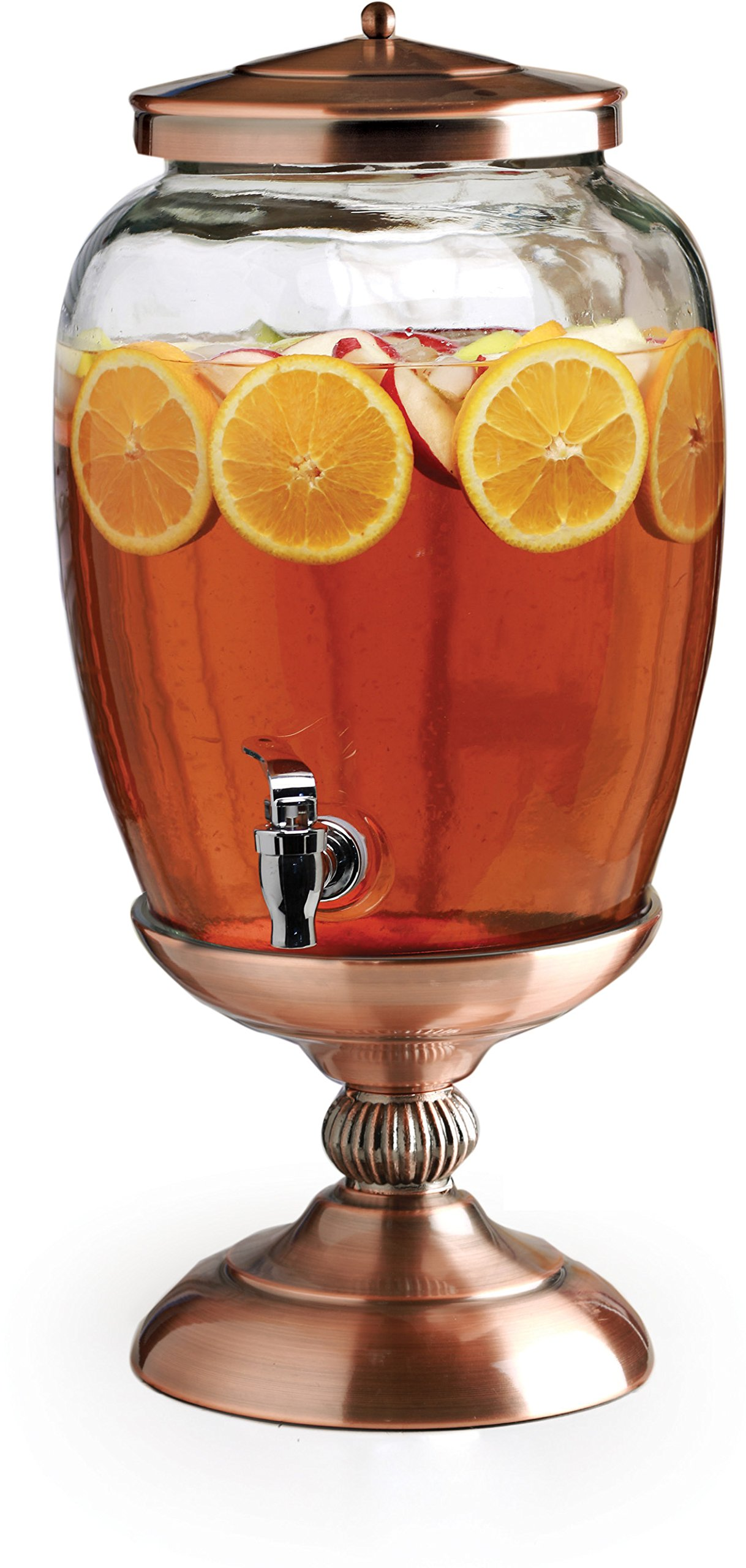 Circleware 68162 Celebrations Elegant Glass Beverage Dispenser Stand and Lid Entertainment Kitchen Glassware Pitcher for Water, Juice, Wine, Kombucha and Cold Drinks, Huge 3.1 Gal, Copper