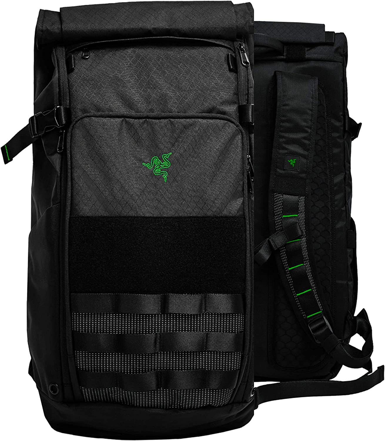 "Razer Tactical v2 17"" Laptop Backpack: Tear & Water Resistant Exterior - Roll Top for Increased Capacity - Scratch-Proof Interior - Fits 15 inch Laptops – Black"