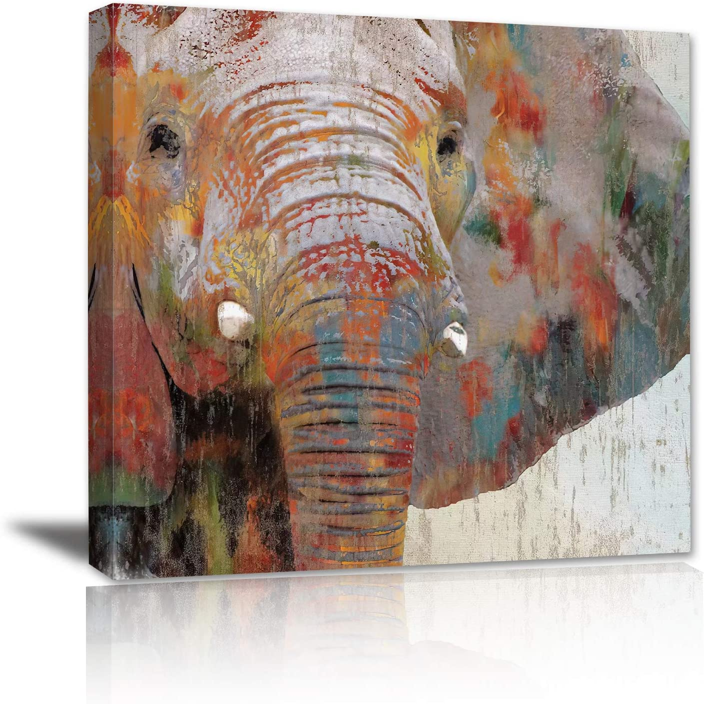 Abstract Grey Elephant Wall Art - Bathroom Kitchen Decor African Safari Animal Head Brass Painting Print Canvas Framed Modern Bedroom Living Room Office Decoration Big Picture Artwork