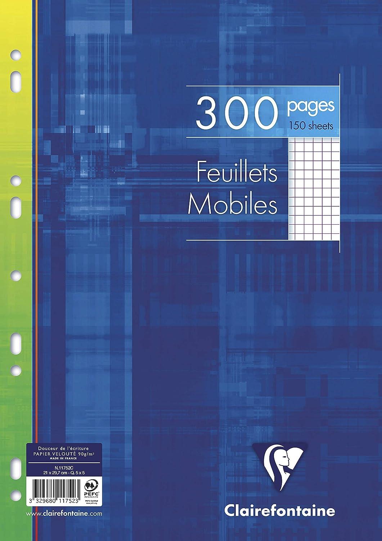 Clairefontaine 17922C Paquet de 400 pages Feuillets Mobiles petits carreaux avec Marge 90 g A4