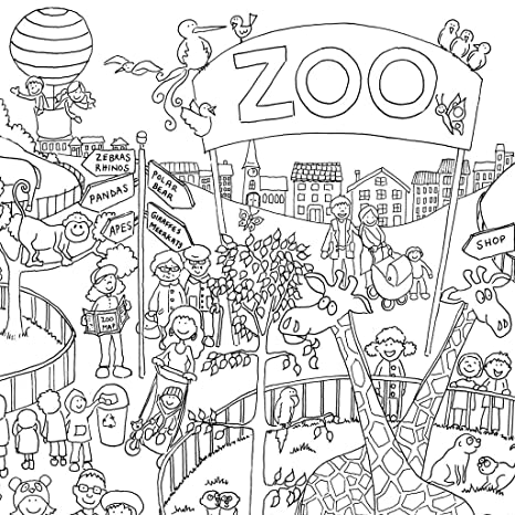 Zoo Colouring In Poster Giant Size 100 X 70 Cm Amazon Co Uk
