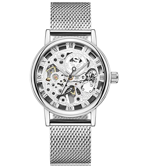 SEWOR reloj para hombre hueca tallado de esqueleto mecánico mano viento reloj de pulsera con banda de malla (Plata): Amazon.es: Relojes