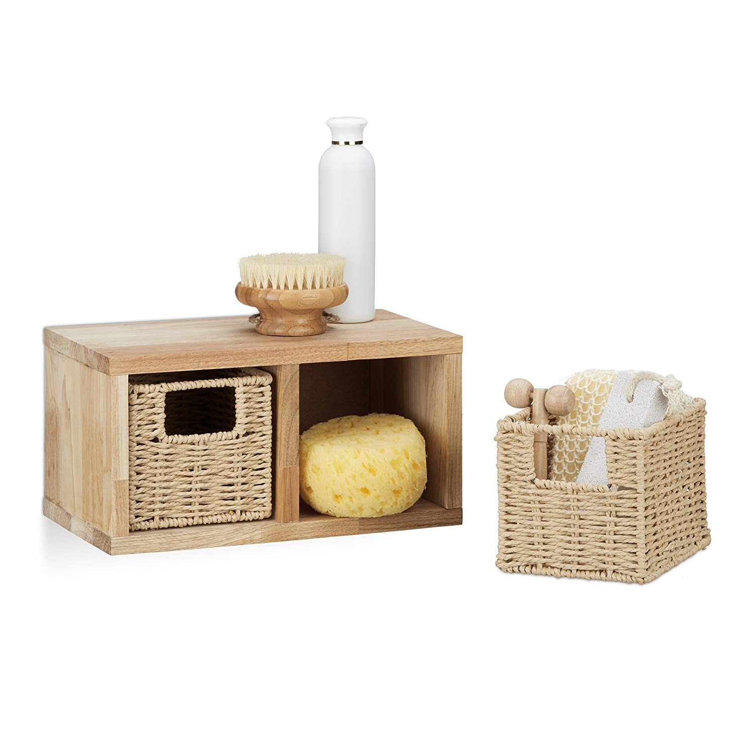relaxdays etagere 2 cubes rangement panier amovible corbeille bois noyer ebay. Black Bedroom Furniture Sets. Home Design Ideas