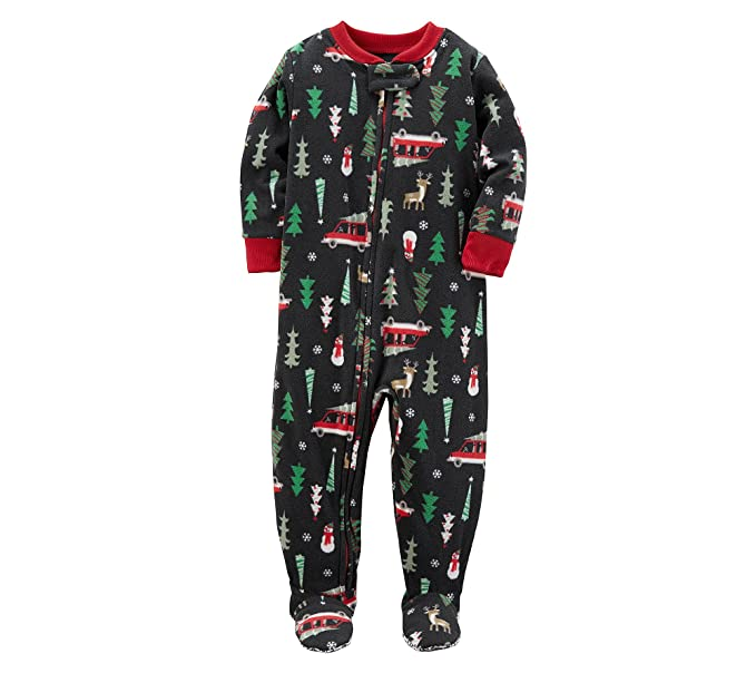 Amazon.com  Carter s Boys  3T-8 One Piece Christmas Fleece Pajamas ... 72c95dfd3