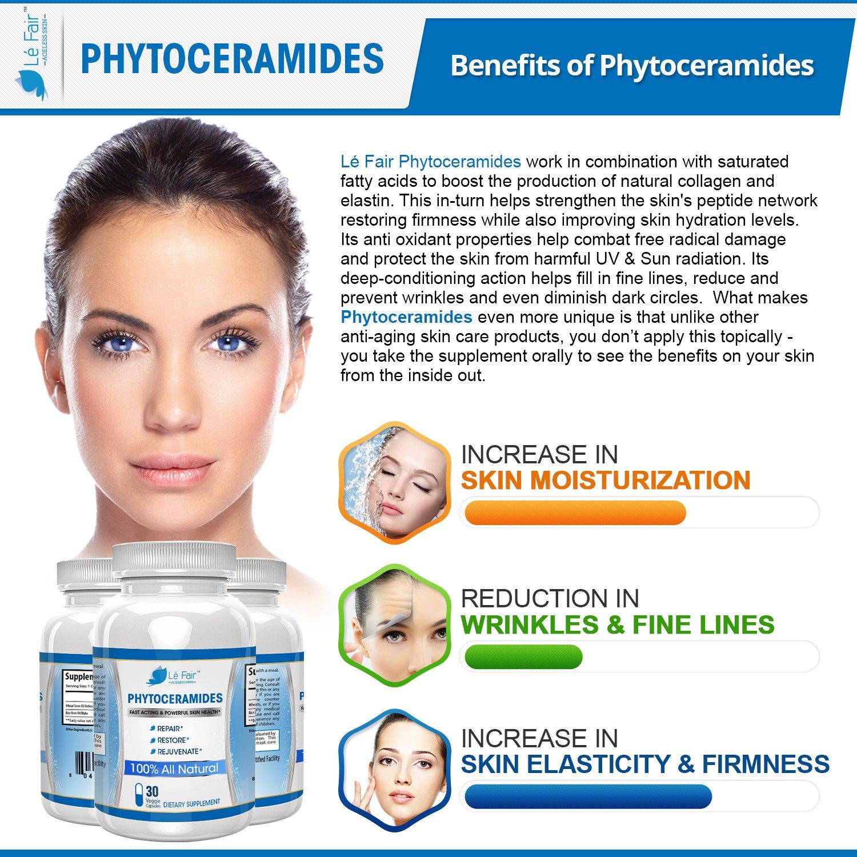 Cápsulas con fitoceramidas - Vitaminas para cabello, piel y uñas - Píldoras con fitoceramidas de arroz vegetariano y germen de trigo - Repara y restaura el ...