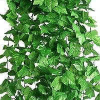 Houda Piante sospese artificiali, 25 metri, edera a foglie verdi, seta, decorazione per cucina, casa, giardino, ufficio, confezione da 12