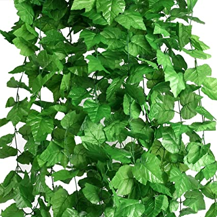 Houda Piante sospese artificiali,edera a foglie verdi, seta ...