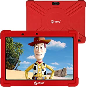 Contixo K101A 10 inch IPS Display Kids Tablet with 2GB RAM 16GB ROM Android 10 Parental Control for Children Infant Toddlers at Home School, Educational Tablet for Kids, WiFi, Child-Proof Case (Red)