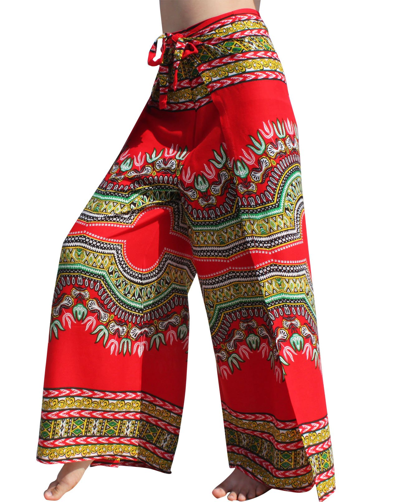 Raan Pah Muang RaanPahMuang Silky Rayon Drive In Wrap Pants Light African Dashiki Art Viscose, X-Large, Red