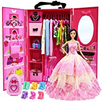 ZITA ELEMENT Lot 101 Items 11.5 Inch Girl Doll Closet Wardrobe with Clothes and Accessories - Including Wardrobe, Suitcase, Clothes, Dress, Swimsuits, Shoes, Hangers, Necklace and Other Accessories
