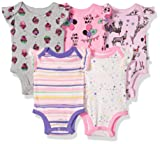 Rosie Pope Infant Baby 5 Pack Bodysuits, Pink/Cupcakes/Giraffe, 3-6 Months