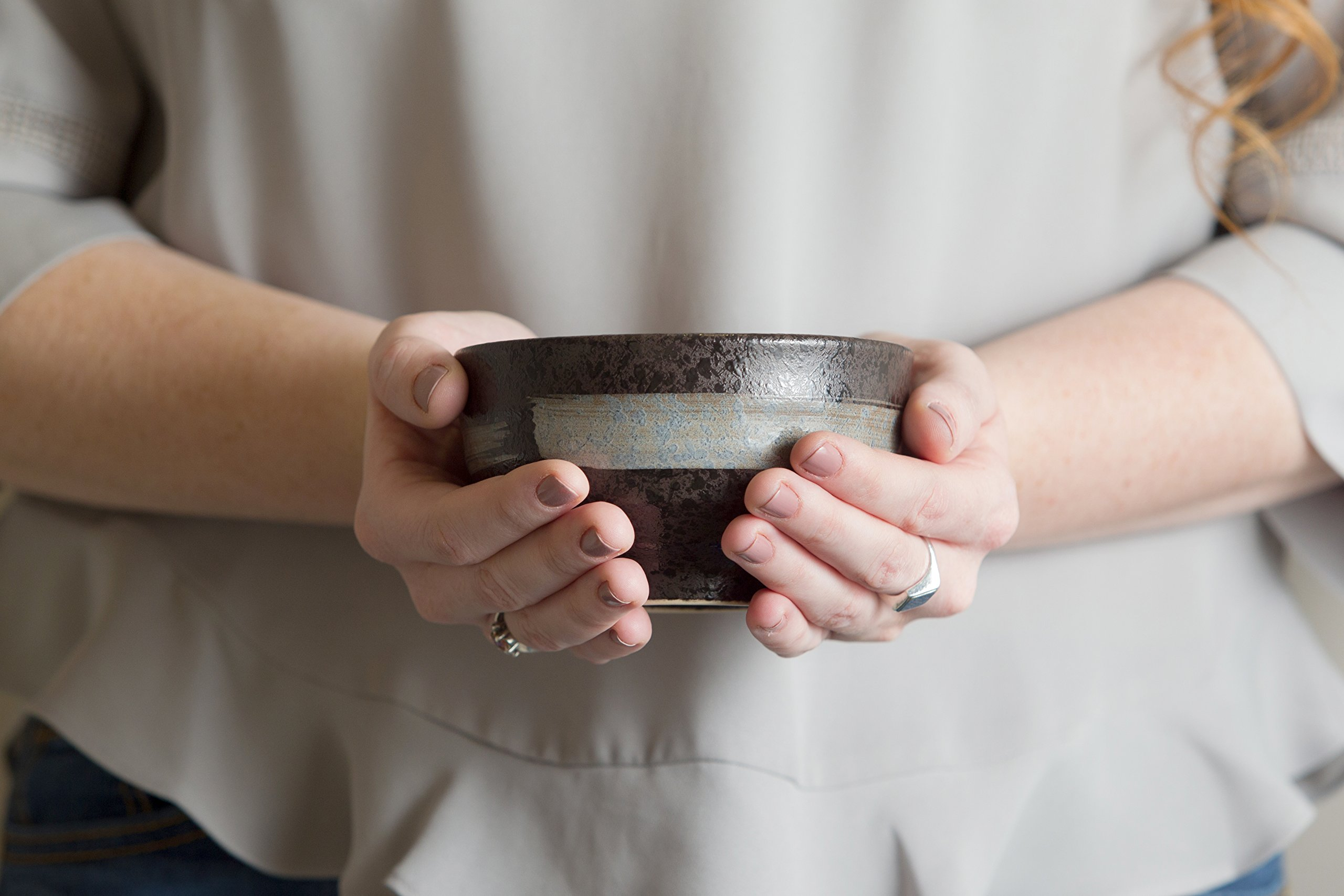 Crazy Dave's Matcha, Handcrafted Nagoya Matcha Bowl, Tea Ceremony Chawan, Tenmoku Glaze Edition, 300 Ml (10 Ounces), Dark Brown with a Single Hand Brushed White Swirl Painted on the Outside. by Crazy Dave's Matcha (Image #3)