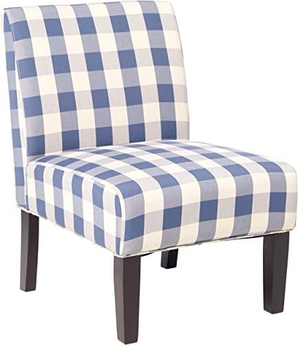 Deal of the week: Christopher Knight Home Kendal Accent Chair Upholstered Farmhouse-Style Blue Checkerboard Matte Black Rubberwood Legs