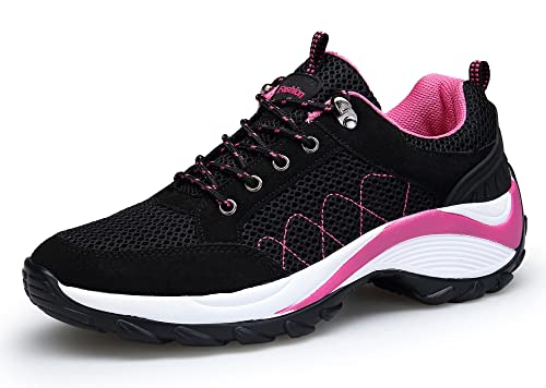 KOUDYEN Atlético Zapatos Chicas Mesh Zapatillas de Deporte Fitness Plataforma Para Mujer (EU42, Negro
