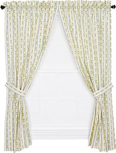 Ellis Curtain Cynthia Floral Stripe Print Tailored Panel Pair Curtains