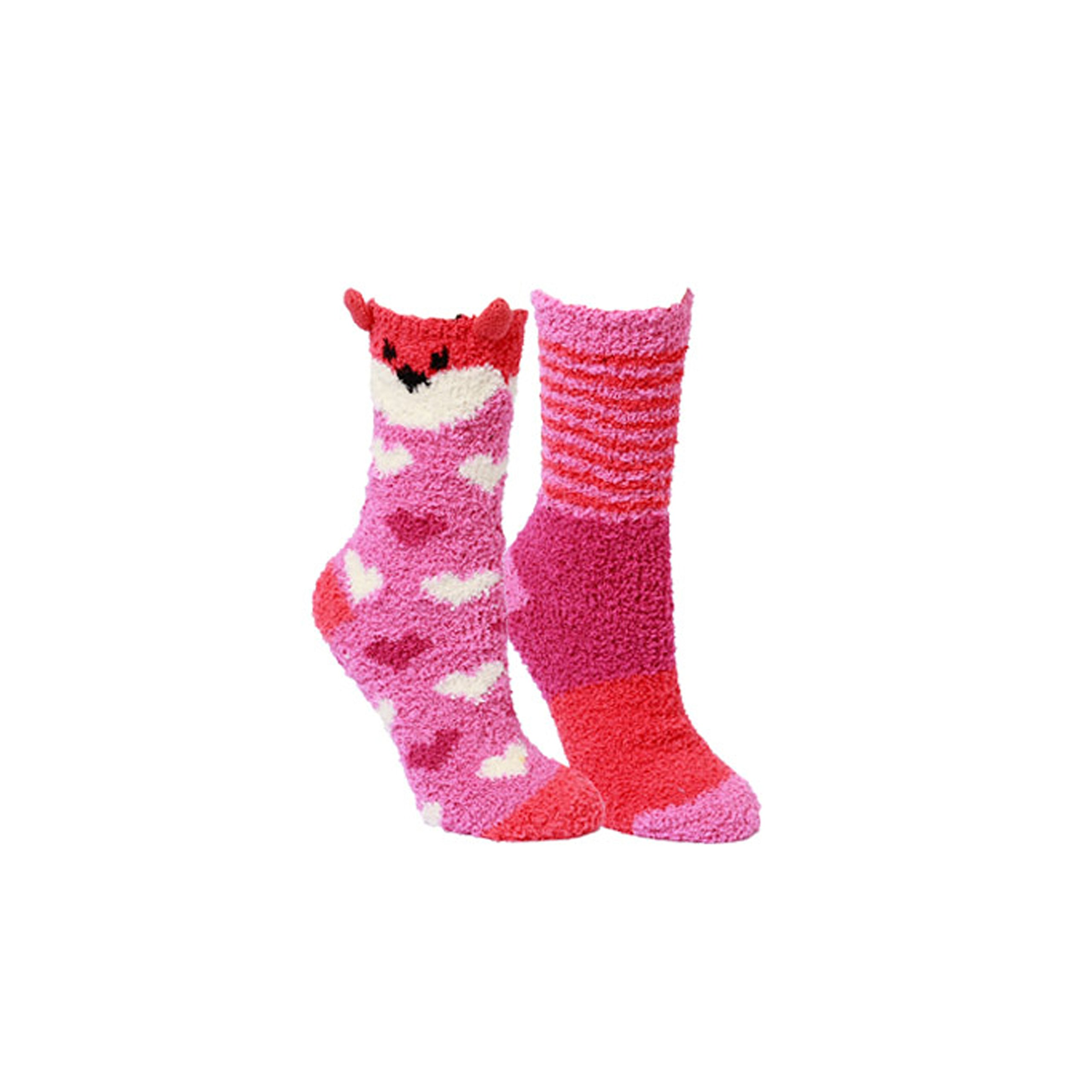 Cute Animal Ultra Soft Chenille Fleece Slipper Socks Women's Winter Fuzzy House Sock- 2 Pack (Fox)