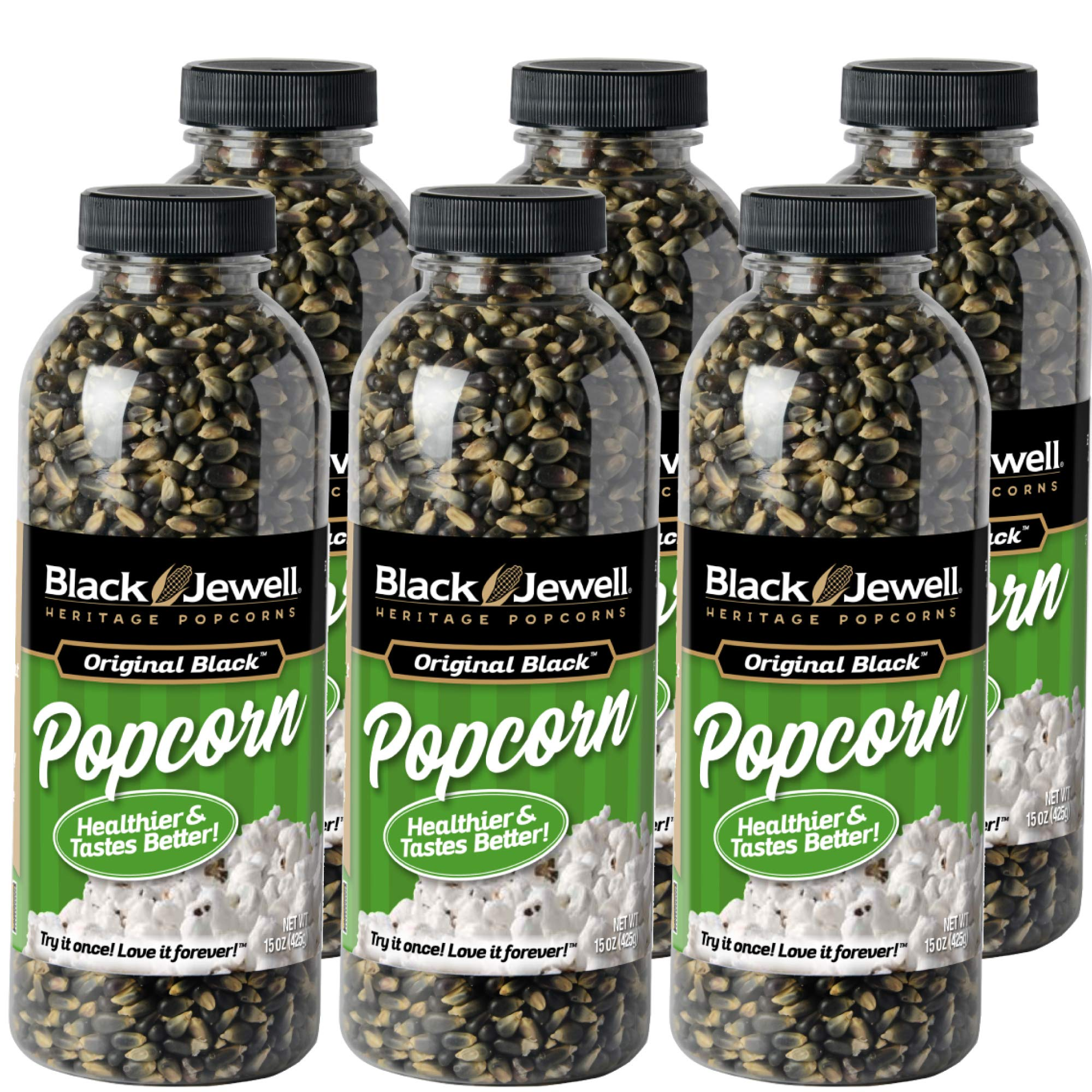 Black Jewell Hulless Original Black Popcorn Kernels 15 Oz (Pack of 6) by Black Jewell