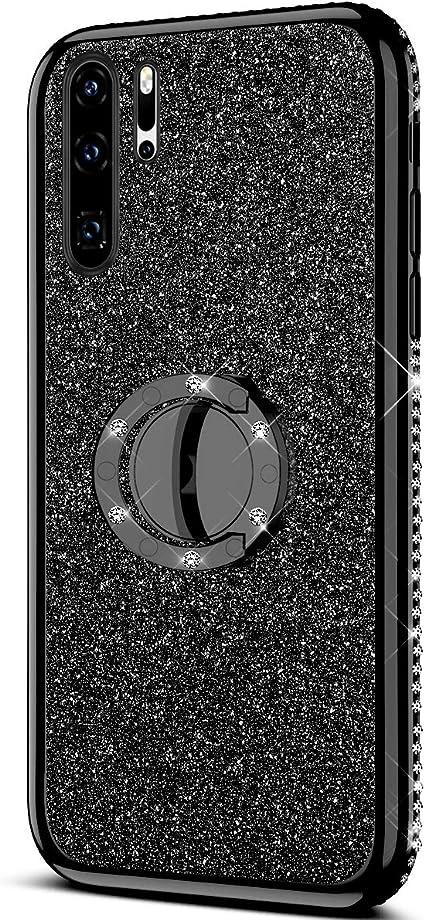 QPOLLY Cover Brillantini Silicone Compatibile con Huawei P30 Pro Bling Glitter Morbido TPU Gel Bumper Custodia con Rotazione a 360 Gradi Diamante Anello Ultra Sottile Antiurto Protettiva Cover,Nero