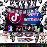 Music Video Party Supplies Set for Kids, Birthday Decoration Packs Includes Flatwares Kit, Serve 10 Guests Plates, Tablecloth