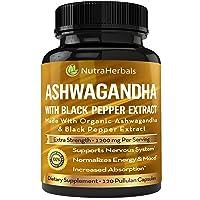 Organic Ashwagandha Root Powder 1200mg - 120 Pullulan Organic Capsules - Ashwaganda...