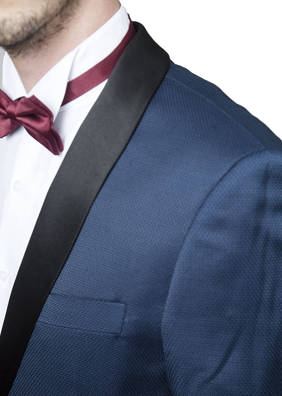 London Fog Men\'s Modern Fit Satin Shawl Collar 2-Piece Tuxedo Suit ...