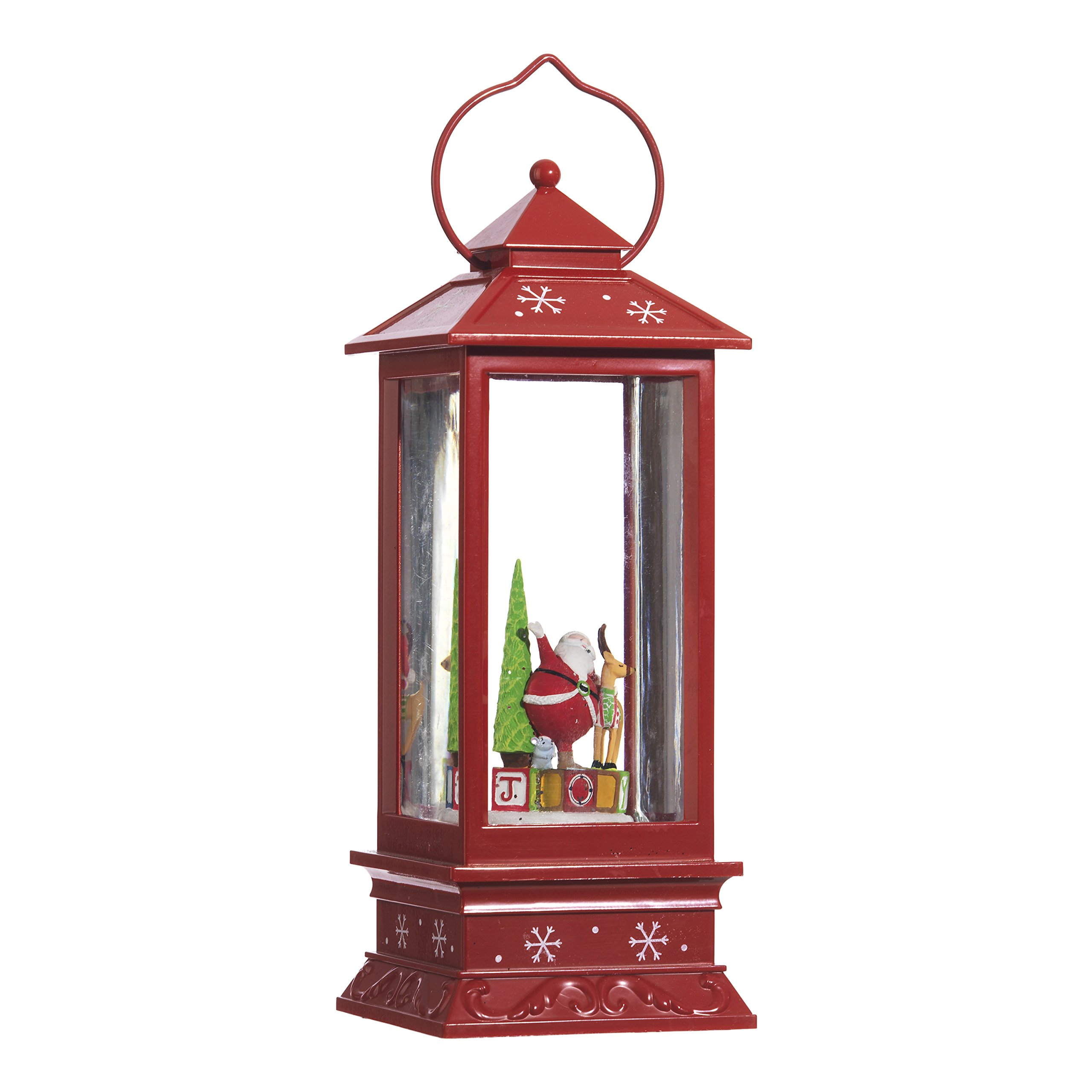 Lighted Snow Globe Lantern: 11 Inch, Red Holiday Water Lantern by RAZ Imports (Santa Claus and Reindeer)