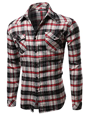 Youstar Scotch Plaid Flannel Long Sleeve Button Down Shirt Red Taupe Black  Size S