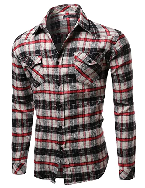 13a520d7ed Scotch Plaid Flannel Long Sleeve Button Down Shirt Red Taupe Black Size S