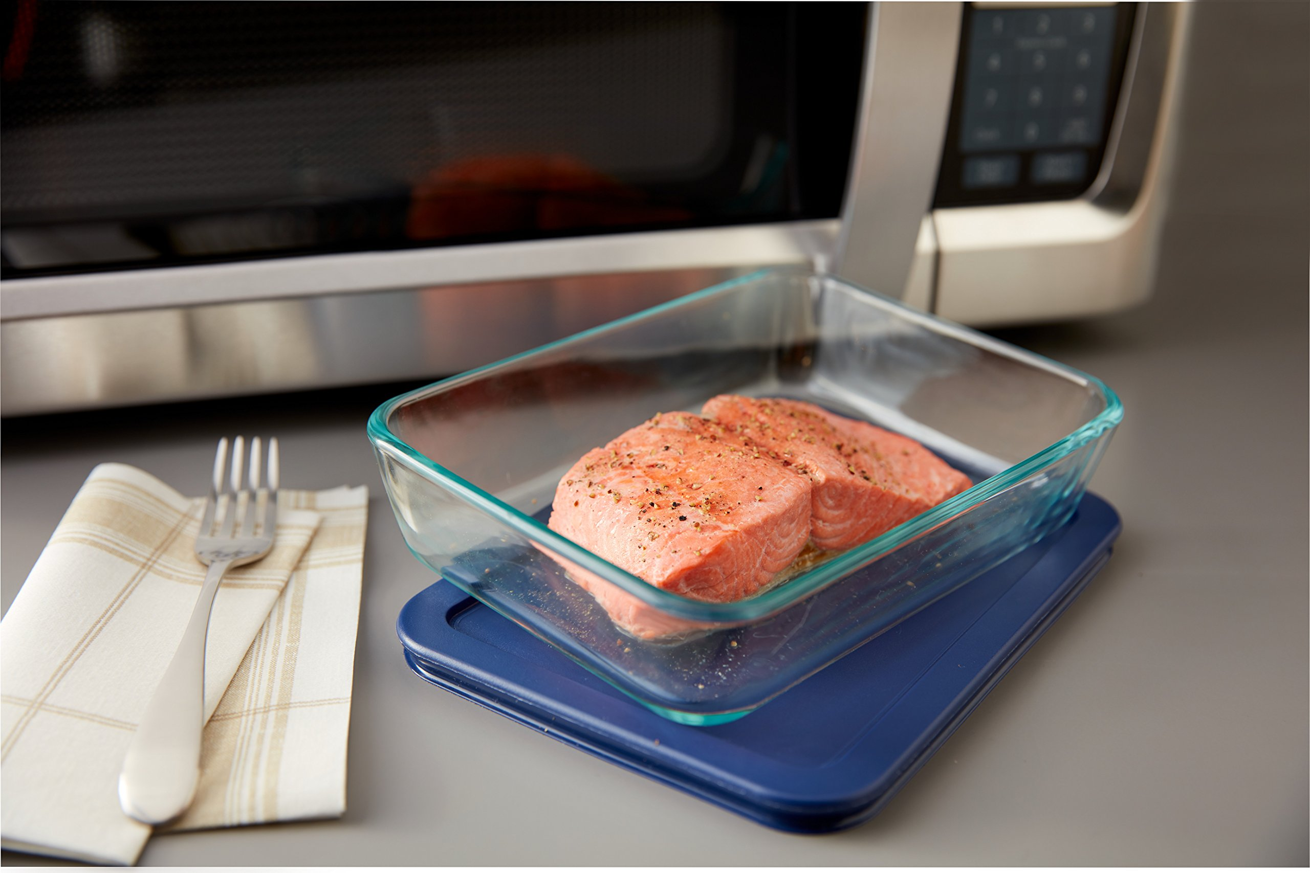 Pyrex Simply Store Glass Food Container Set with Blue Lids (10-Piece) by Pyrex (Image #6)