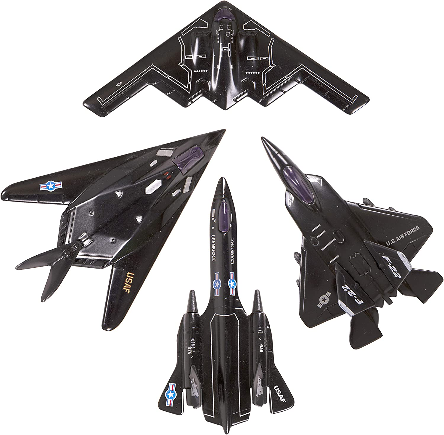 12, One Dozen Fighter Jets: Color Display Box Narwhal Novelties 5 Die Cast Pullback Stealth Bomber Airplanes