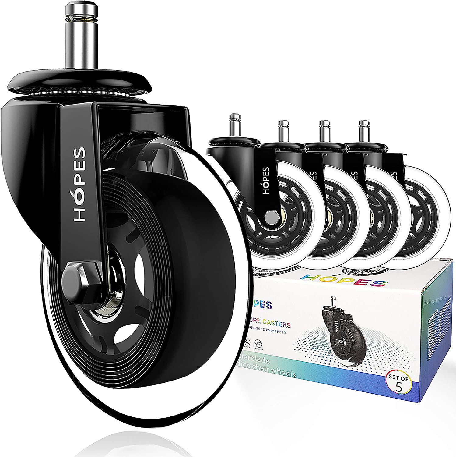 Includes One Reinforced Furniture Casters 2 Inch 50mm Universal Wheel Office Chair Casters Mute