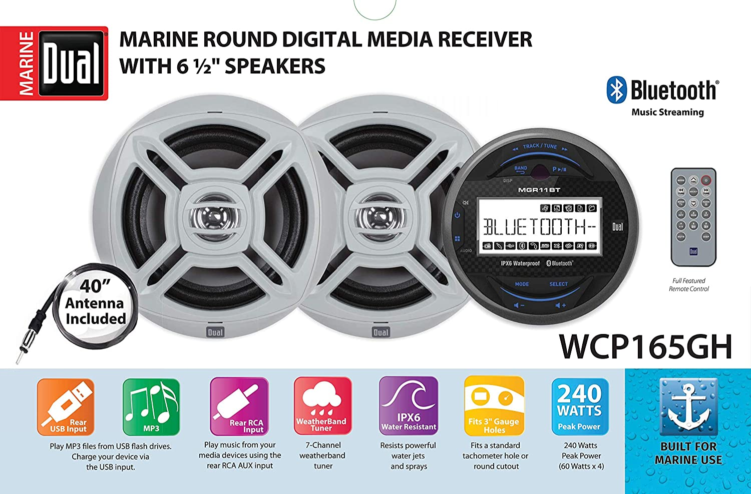 Dual Electronics WCP165GH 2.5 inch LCD Waterproof Marine Stereo Receiver with Built-in Bluetooth Weather Band Tuner Two 6.5 inch Dual Cone Marine Speakers /& Long Range Marine Antenna