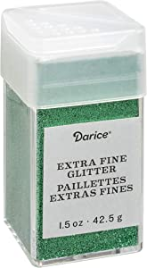 Darice Emerald Green Extra Fine Glitter 1.5 Ounces Canister w/Pour or Shake Lid, 2.7