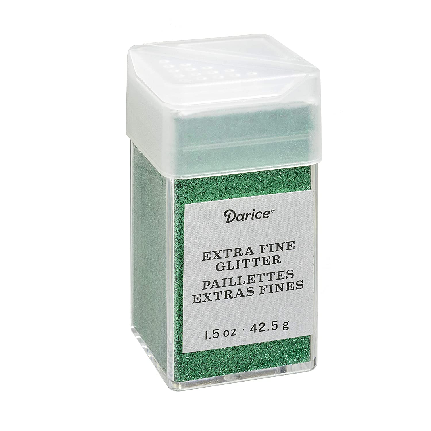 2.7 Darice Emerald Green Extra Fine Glitter 1.5 Ounces Canister w//Pour or Shake Lid