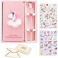 VAMEI Girls Pink Unicorn Journal cuaderno Bolígrafos Set Bonitos y bonitos regalos para el cumpleaños de la fiesta Favor, Occaciones de graduación (rosa)