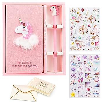 VAMEI Girls Pink Unicorn Journal cuaderno Bolígrafos Set Bonitos y bonitos regalos para el cumpleaños de la fiesta Favor, Occaciones de graduación ...