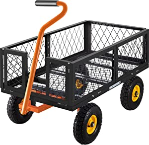 VEVOR Steel Garden Cart, 1200lbs Capacity Garden Utility Cart, 39'' L x 22'' W x 11'' H Steel Utility Wagon, Outdoor Lawn Wagon w/Removable Sides, 10'' Pneumatic Tires, Adjustable Handle, Black
