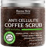 Coffee Scrub 100% Natural With Organic Coffee, Coconut and Shea Butter, Powerful Remedy For Cellulite, Stretch Marks, Varicose Veins, Eczema and Acne 12 oz