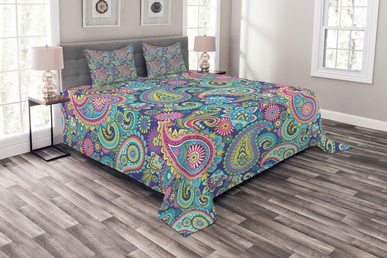 Abakuhaus Paisley Tagesdecke Set, Bohem Ethnische Bunte, Set mit Kissenbezügen Sommerdecke, für Doppelbetten 220 x 220 cm, Mehrfarbig