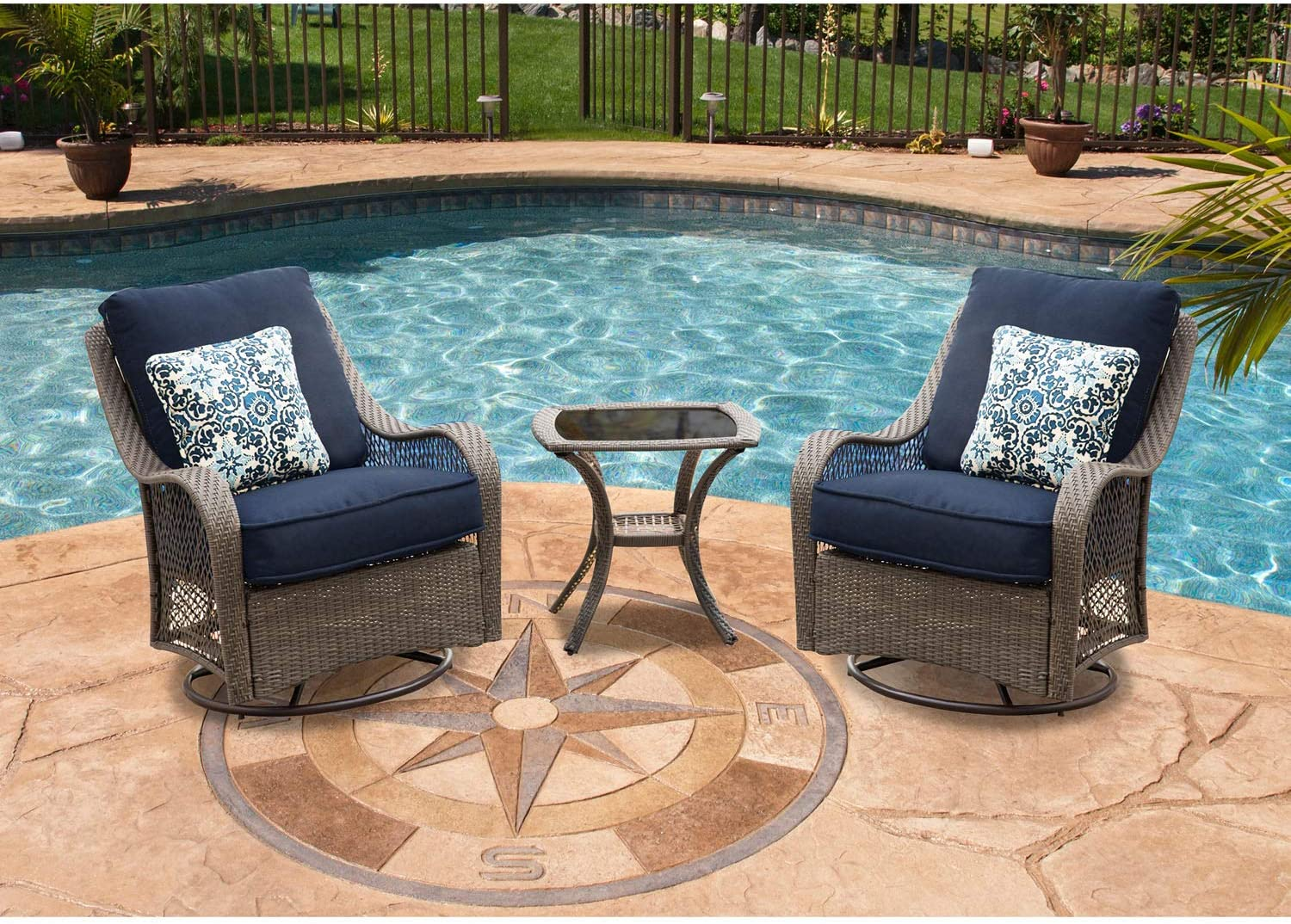Hanover Orleans 3-Piece Swivel Gliding Chat Set in Heather Gray with Gray Weave