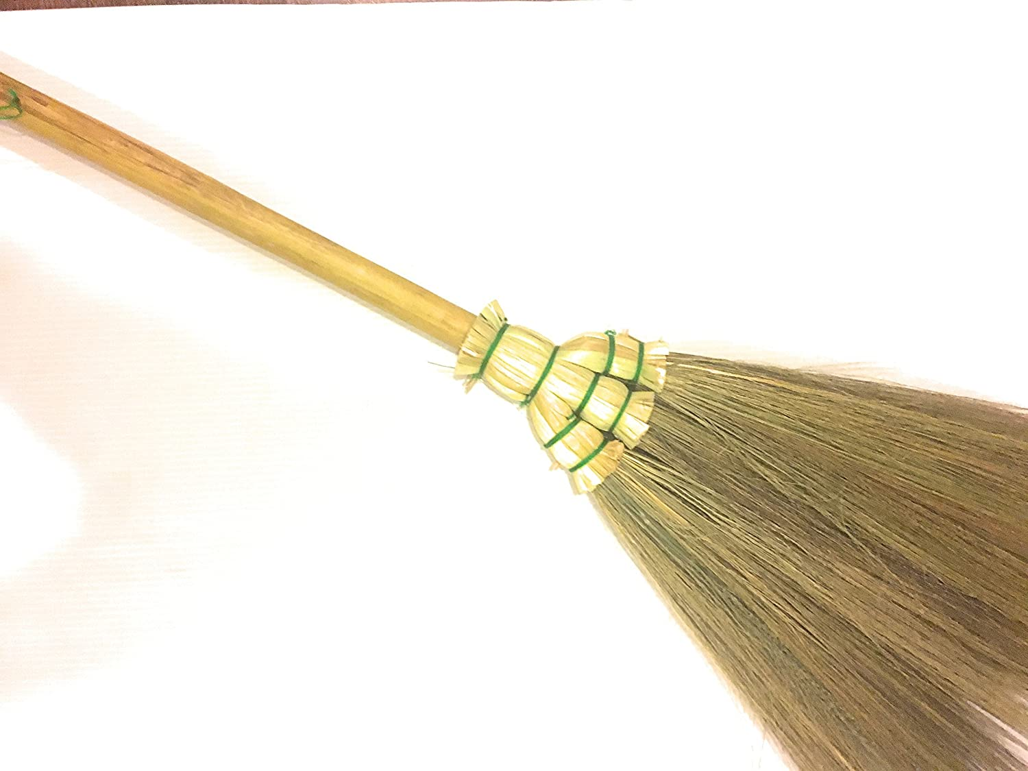 Thai Traditional Handmade Broom Grass bamboo handle Natural color, Tiny broom Perfect for any kitchen, car, restaurant, office, or any room cleaning Home decor vintage (length 28') 1pc or any room cleaning Home decor vintage (length 28) 1pc TrendyLife2015